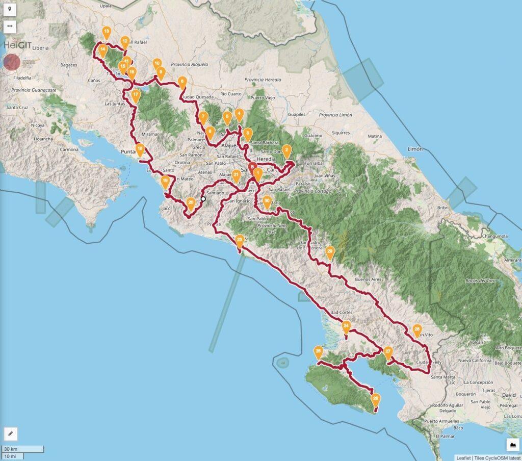 La Carrera Costa Rica Rally Mapa